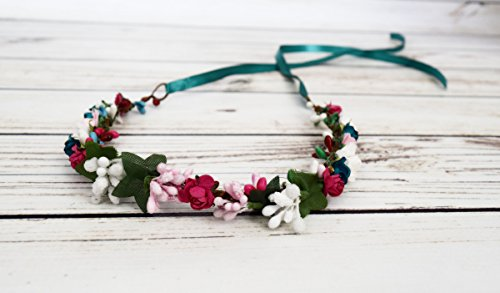 Designs by My Daughters - Handcrafted Teal Pink and White Flower Crown - Spring Flower Halo - Flower Girl Crown - Boho Flower Crown - Small