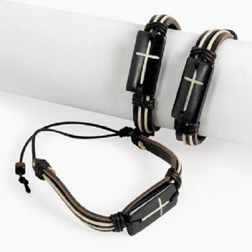 Lot of 12 Natural Leather Cross Bracelets -