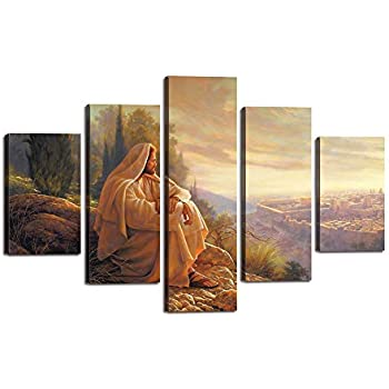 Yatsen Bridge Jesus Wall Art Picture Decor 5 Panel Vintage Christian Faith Canvas Prints Poster Jesus Thorn Painting for Living Room Home Decoration Stretched Ready to Hang (60