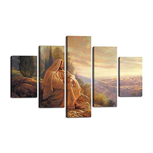 (Yatsen Bridge Jesus Wall Art Picture Decor 5 Panel Vintage Christian Faith Canvas Prints Poster Jesus Thorn Painting for Living Room Home Decoration Stretched Ready to Hang)
