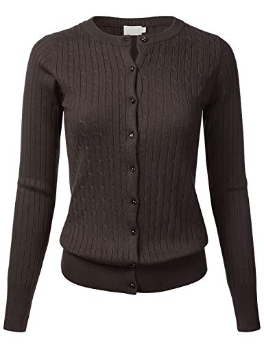 FLORIA Womens Classic Gem Button Long Sleeve Crew Neck Cable Knit Fitted Cardigan Sweater Brown 1XL