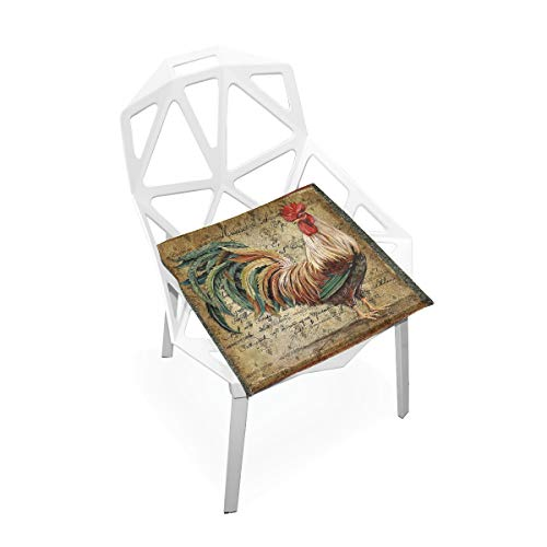 (THULALA Comfort Memory Foam Square Chair Seat Cushion with Rooster Chair Pads)
