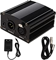 48V Phantom Power Supply 1-Channel with Adapter,XLR 3 Pin Microphone Cable for Any Condenser Microphone Music
