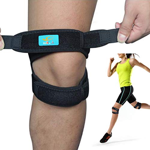 HiRui Knee Brace Knee Support Patella Strap Patella Stabilizer for Basketball/Soccer, Tennis/Volleyball, Running, Pain Relief.etc, Unisex, One Size Adjustable -