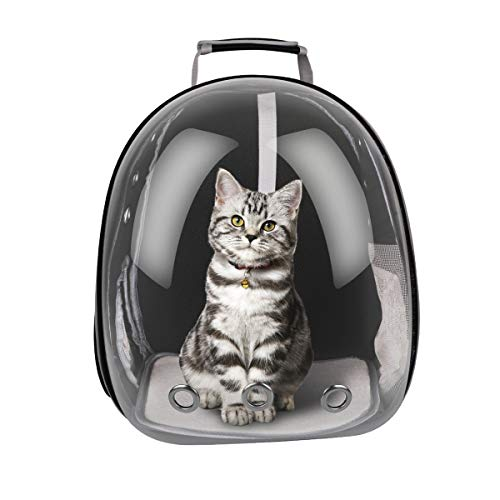 RCruning-EU Portable Pet Travel Breathable Backpack Pet Carrier Capsule Waterproof Transparent Breathable Space For Dog Cat Puppy-Black