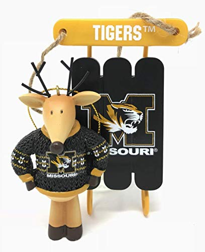 (University of Missouri Tigers Sweater Reindeer & Sled Christmas Tree Ornament - Officially Licensed (2 Piece Set))