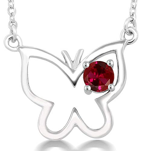 Gem Stone King 0.25 Ct Round Red Created Ruby 925 Sterling Silver Butterfly 18inches Necklace