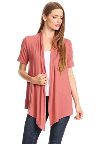 Womens Solid & Printed Short Sleeves Open Front Draped Cardigan/MADE IN USA