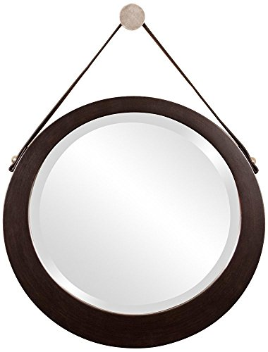 Howard Elliott 92013 Bloom Round Mirror with Lighter Brown Leather Hanging Strap, Deep Espresso Brown