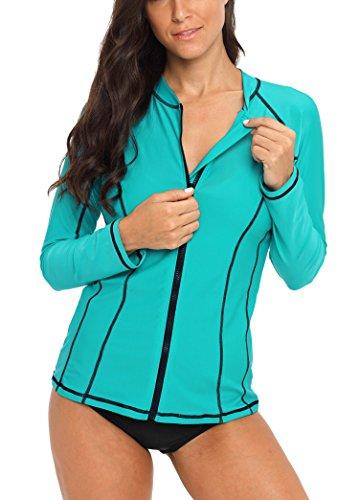 womens long sleeve swim jacket rash guard zip up surf shirts spf swimsuit aqua ()