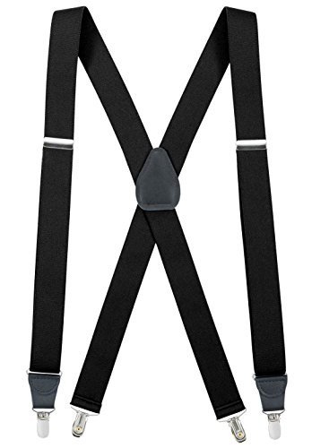 - Women Suspender Elastic Adjustable X-Back With Leather Trim Drop Clip - Black (Tall, 54