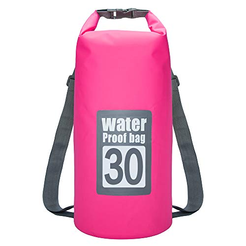 (laize Multicolor Portable 5L 10L 15L 20L 30L Waterproof Drift Bag Dry Outdoor Swimming PVC Adjustable Strap Kayak Rafting Bag Pink )