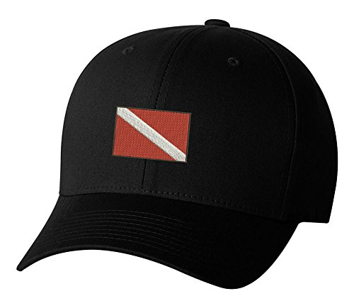 Hat Diver (Dive Flag Divers Boating Embroidered Hat 4 Colors - Black - OSFA Adjustable)