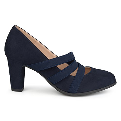 Brinley Co. Womens Levin Faux Suede Comfort Sole Chunky Heel Almond Toe Triple Elastic Strap Heels Navy, 7 Regular US]()