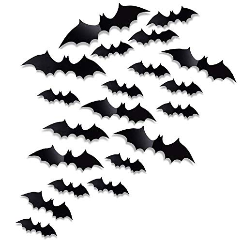 Antner 60 Pcs Halloween Party Supplies PVC 3D Bats Removable Decals Stickers Window Scary Bats Decors, -