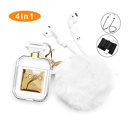 (Airpods Case,Rcligent Perfume Bottle Case Keychain Soft Skin Shockproof Case for Apple Airpods 1)
