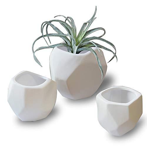 White Geometric Ceramic Flower Pots - Unglazed Decorative Table Centerpiece Vases Set, Planter Pots Indoor for Succulent Cactus Artificial Plants, Home Decor Gift