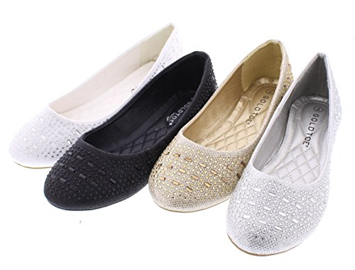 Shoes Dressy Bridal Shoe Wedding Dress Toe Karma Ballet Rhinestone Gold for Sparkle White Cute Flats Flat Women Womens XHCawp