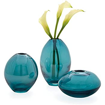 Amazon 6 Teal Blue Crackled And Brown Frosted Hand Blown