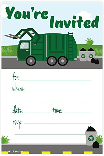 Garbage Truck Birthday Party Invitations - Fill In Style (20 Count) With Envelopes by m&h invites