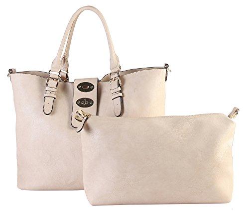 - Fraless Collection Flip-lock Flap Closure Bag in Bag Design Hobo Handbag (Beige)
