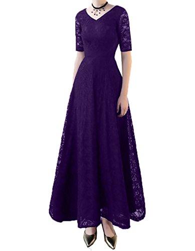Lila Damen Kurzarm Brautmutterkleider Abendkleider knoechellang Spitze A Ballkleider Charmant Linie Ausschnitt Dunkel V 7REwHdq