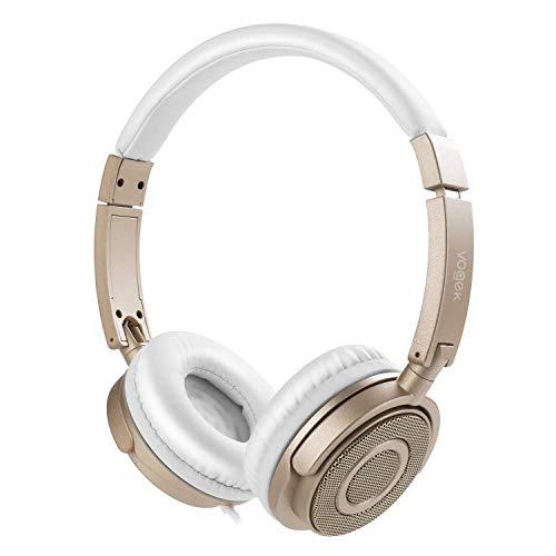 On Ear Headphones Mic, Vogek Wired Foldable Bass Headphones Volume Control Microphone-Gold