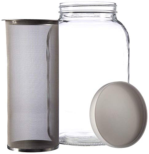 Gallon Cold Brew Coffee Maker. 1 Gallon Mason Jar with Stainless Steel Mesh Filter Insert and Lid - by kitchentoolz