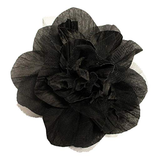 (stylesilove Endless Fun Fabric Tulle Flower Corsage Brooch Pin - 6-Inch (Black))