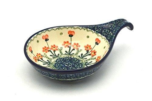 Polish Pottery Spoon/Ladle Rest - Peach Spring Daisy