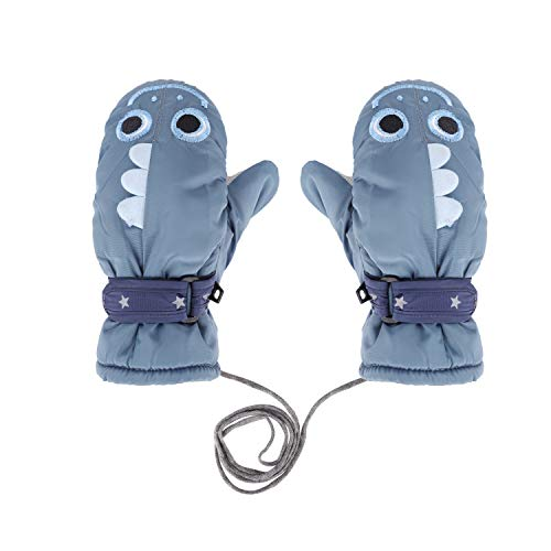 Toddler Kids Child's Winter Ski Mittens with String Waterproof Anti Skid Plush Fleece lined Cartoon Shark Animal Gloves for Girls Boys 3-10 Years (Grey Shark Ski Mittens Gloves)