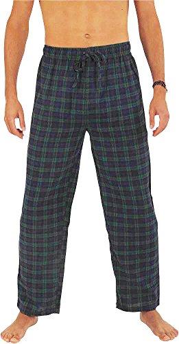 - NORTY - Mens Cotton Blackwatch Plaid Flannel Sleep Pajama Pant, Blue, Green 39979-XX-Large