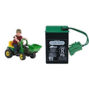 Peg Perego John Deere Mini Power Loader with 6 Volt Replacement Battery Bundle