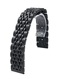 Stainless Steel Quick Release Watch Band Strap Solid Bracelet For Huawei Watch 2 2nd Generation Smartwatch (Black)