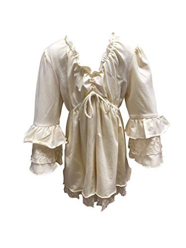 (Girls Ivory Ruffled V Neck Layered Bell Sleeve Retro Flowy Knit Tunic with Lace)
