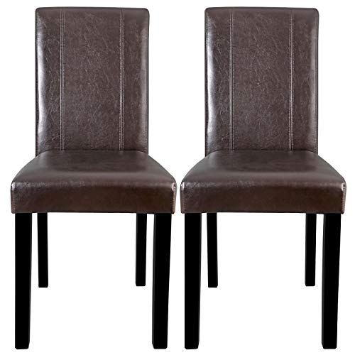 Dining Parson Chair Set of 2 Armless Kitchen Room Brown Leather Backrest Elegant Ideal for a dining room - Emerson Dining Room Chair