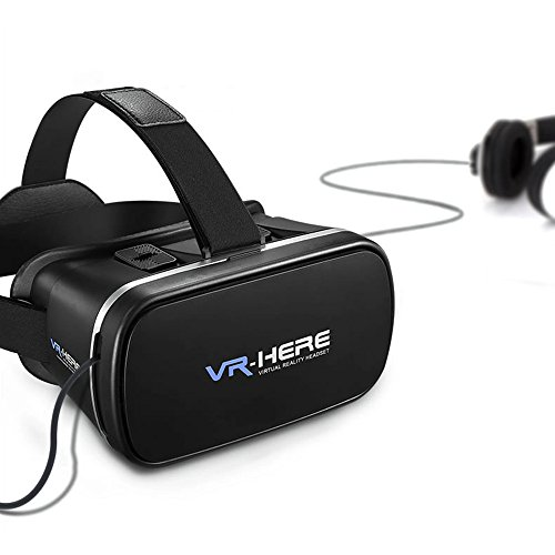 VR-HERE VR Headset Virtual Reality 3D Glasses with Remote Control, Build-in Clip to Keep Your Phone Safe for 3D Movies/Games