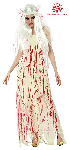 Zombie Bride Costumes (YOU LOOK UGLY TODAY Bride Zombie Costume Scary Halloween Party King Novelty Halooween Costumes)