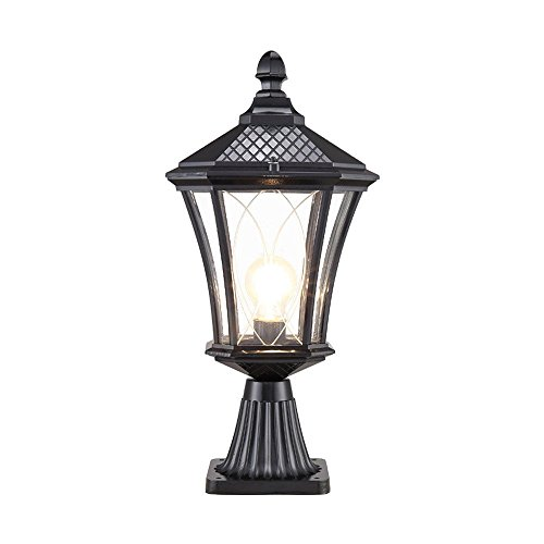 European E27 Outdoor Pillar Light Column Lamp Vintage Open Air Villa Patio Community Meadow Gate Lamp Post Lantern Vintage Waterproof Prevent Rust Aluminum Fence Garden Lamp Patio ()