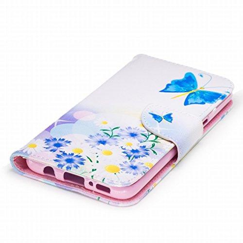 Custodia Samsung Galaxy S8 Cover, Ougger Blue Butterfly Portafoglio PU Pelle Magnetico Stand Morbido Silicone Flip Bumper Protettivo Gomma Shell Borsa Custodie con Slot per Schede