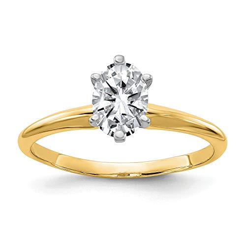 14ky 1.0ct. 7x5mm Oval Moissanite Solitaire Ring, Size: 7, 14 kt Yellow Gold ()