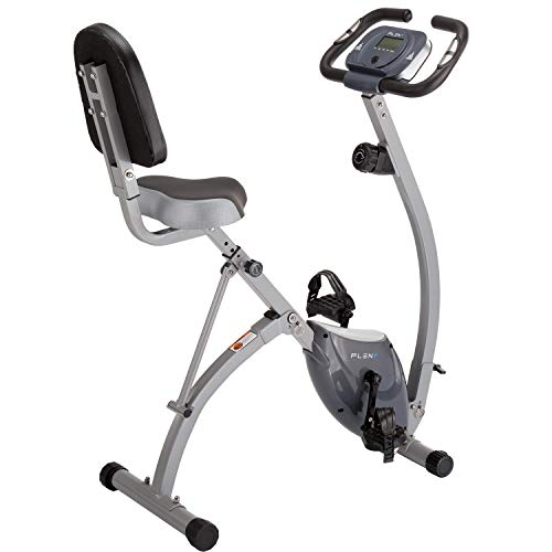 PLENY Foldable Semi Recumbent Exercise Bike with High Backrest and 330 lbs Weight Capacity (Gray)