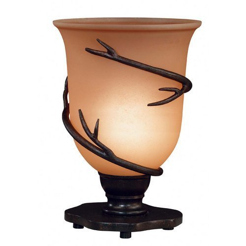 Kenroy Home Twigs Table Torchiere with 8 inch diameter Amber Scavo glass shade by Kenroy Home