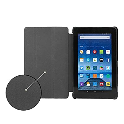 2015 New Fire 7'' Case - Premium Leather Folio Stand Case Cover for Amazon New Fire 7'' Tablet 2015 Version Tablet Only from oenbopo
