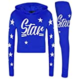 Girls Kids Star Print Hooded Tracksuit Top & Bottom Loung_wear Jogging Set Outfit Age 7-13 Years (Grey, 13 Years)