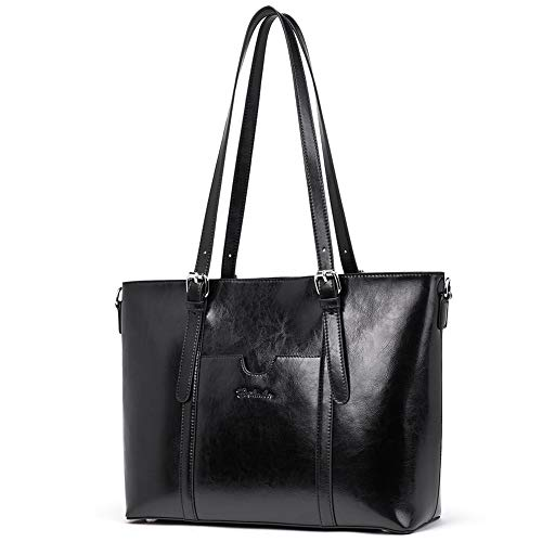 BOSTANTEN Women Leather Laptop Shoulder Handbag Vintage Briefcase 15'' Computer Work Tote Bag Black by BOSTANTEN (Image #5)