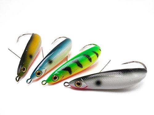 (CATCHSIF 4PCS weedless Minnow Spoon 3.5inch Hard Fishing baits)