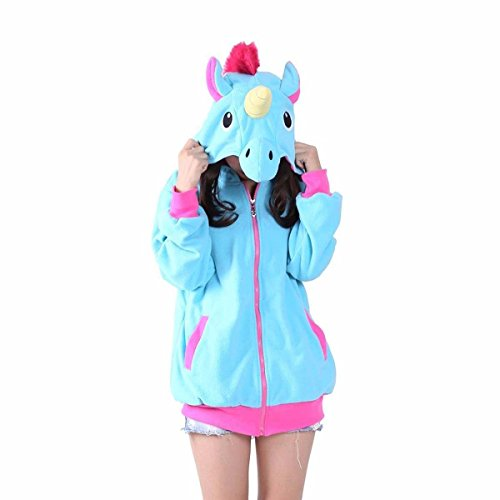 UBeauty Unisex-adult Kigurumi Onesie Unicorn Pajamas (S, Blue Unicorn (Dragon Hoodie Costume)
