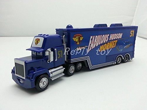 - ้็็Hand Mate Car Toys Pixar 1:55 Scale Diecast Mack No.51 Fabulous Hudson Hornet Hauler Truck Metal Toy and Car Collectors