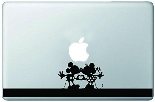 Cute Mickey & Minnie Holding Hands Heart Kiss Silhouette Vinyl Decal Sticker Skin for Macbook 13